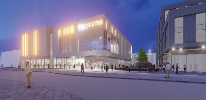 Artists Impression of Cinema at night from Styring Street