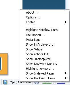 Search Status add-on menu