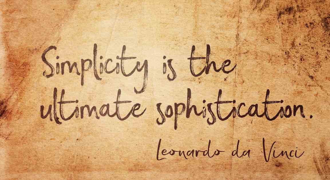 Graphic depicting a parchment with Leonardo da Vinci's words, Simplicity Is the Ultimate Sophistication