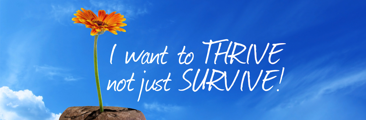 "A graphic of a yellow daffodil thriving on a bare rock. Beside it, the words ""I want to thrive not just survive."" Background is blue sky and wispy white clouds"