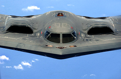 """A U.S. Air Force B-2 Spirit """"Stealth"""" bomber, 393rd Expeditionary Bomb Squadron, 509th Bomb Wing, Whiteman Air Force Base, Mo."""