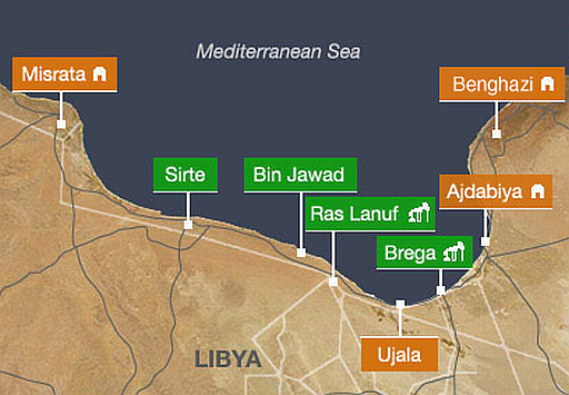War map of the coastal strip of Libya