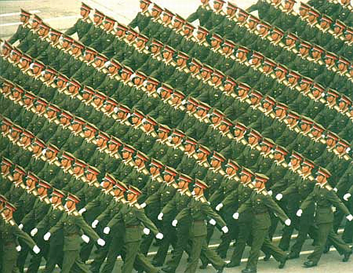 Chinese soldiers marching in formation