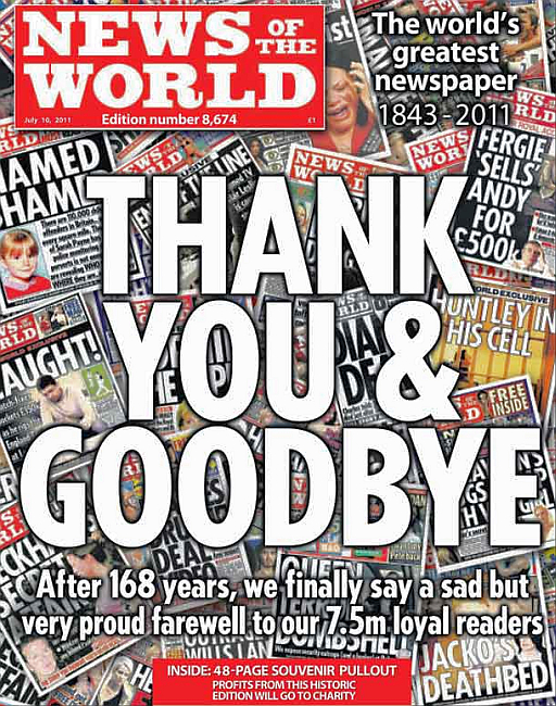 The last issue of the News of the World