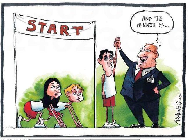 Labour leadership. Three clowns