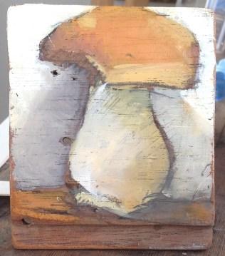 Cep. oil on wood. 15 x 18cm. 2015