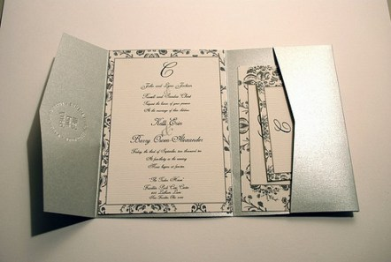 Metallisk bryllupsinvitasjon