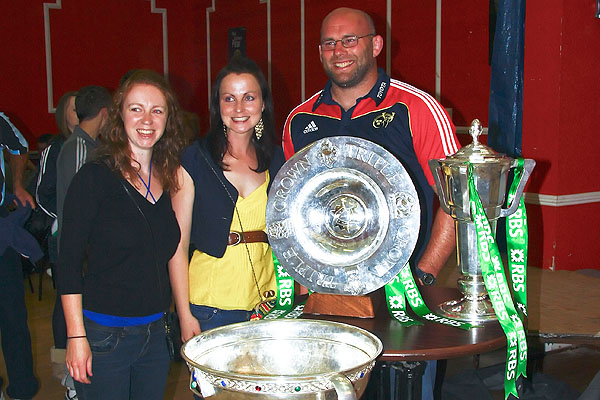 John Hayes with the 6 Nations, Magners League and Triple Crown Trophies.