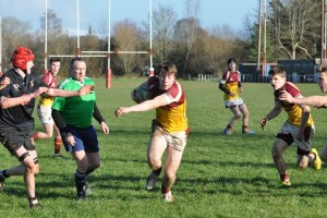 Sean Hartigan who had a fantastic game for Bruff makes 1 of several Breaks for Bruff