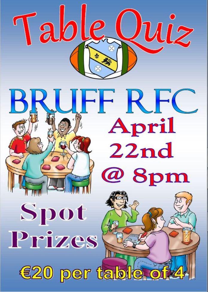 Bruff RFC Table Quiz, Friday April 22nd