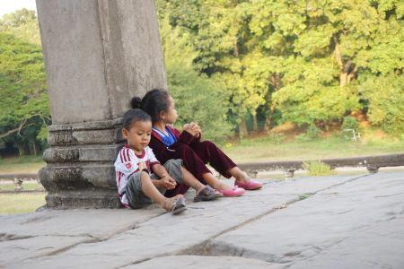 Kinderen bij Angkor Wat
