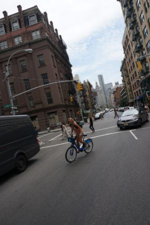 Cycling in downtown NY