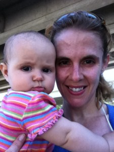 Madeline and Cindy after the 1st run in the jogging stroller