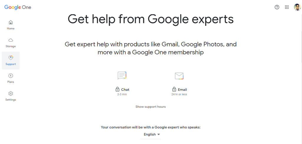 Google One support
