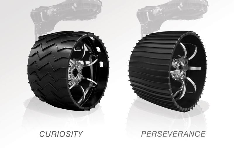 NASA Perseverance rover wheel versus Curiosity wheel