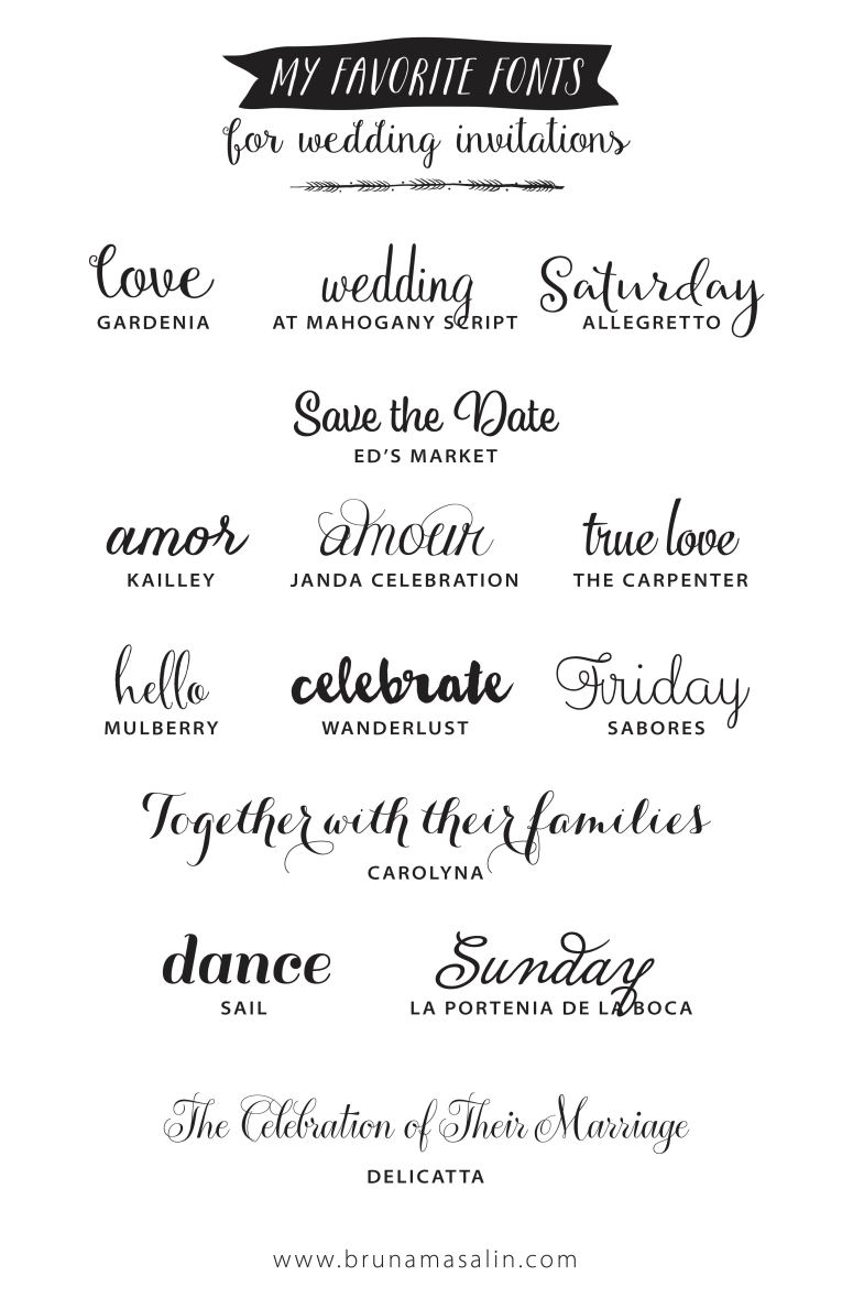 Wedding Invitation Fonts.My Favorite Fonts For Wedding Invitations Bruna Masalin