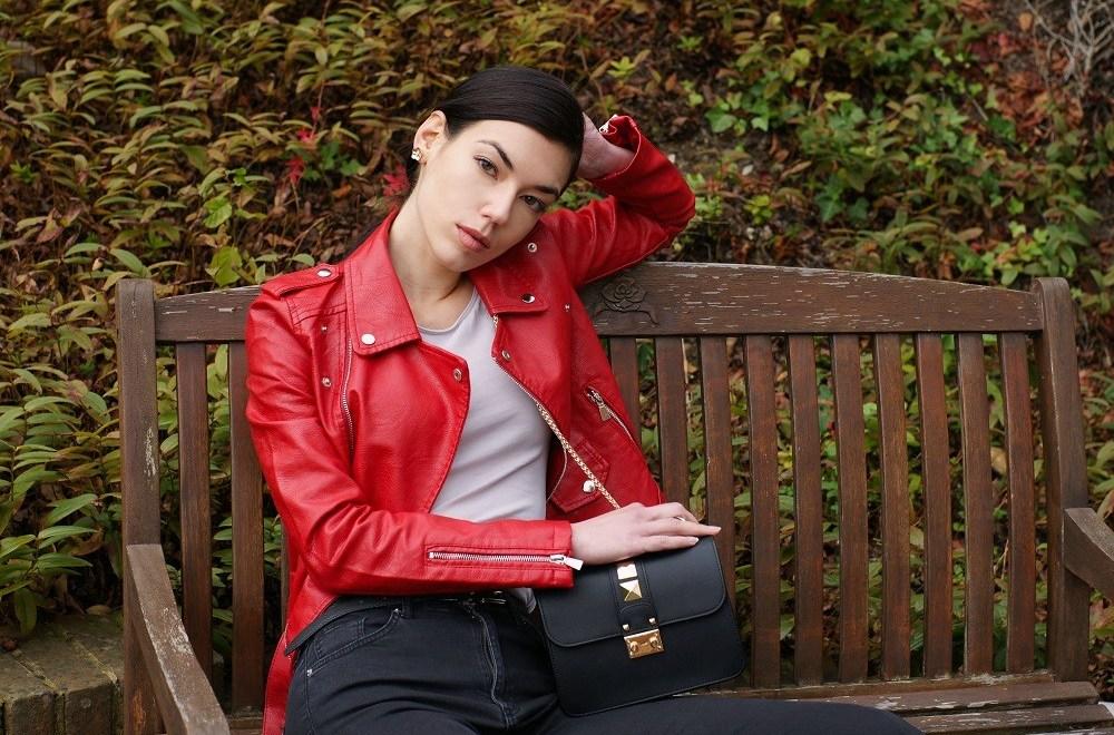 Brunette on Demand The Red Biker Jacket In My Wardrobe