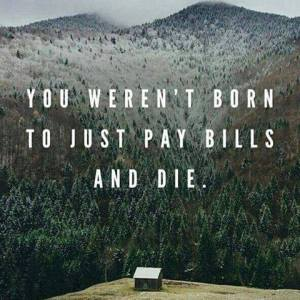"""You weren't born to just pay bills and die."""
