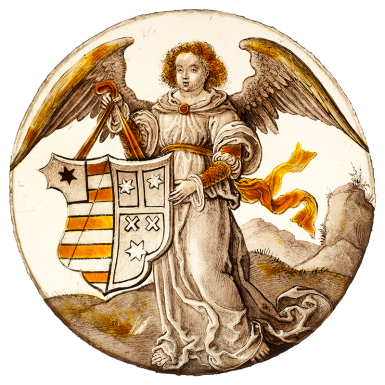Armorial with an angel holding a shield Flanders 1520-1530.