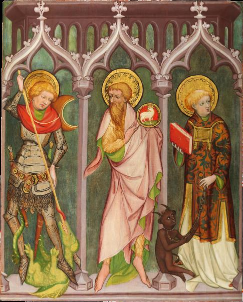 Nikolaus Kentner   Saints George, John the Baptist, and Cyriacus   Eastern Tyrol, Lienz   c. 1440-50   oil on softwood panel