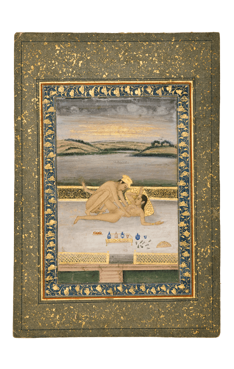Lovemaking on a Lakeside Terrace Provincial Mughal, c. 1800