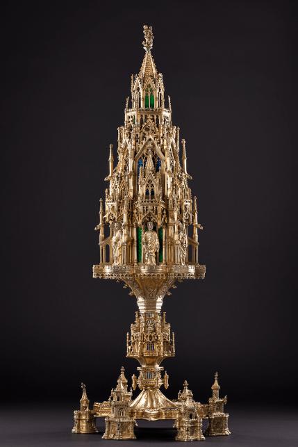 A lavish silver-gilt and enamelled altarpiece tower Spain, Barcelona c. 1460-1480