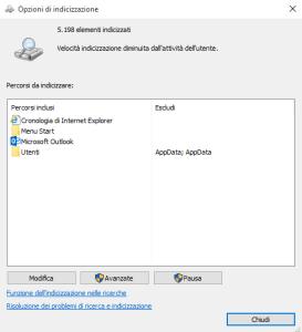 Indicizzare il disco con windows 10