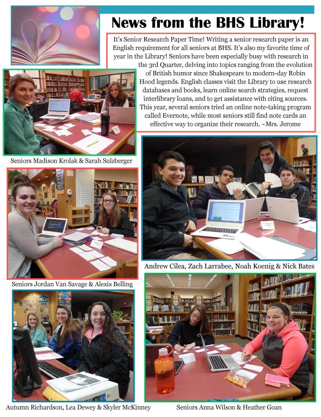 Newsletter Item April 2016 BHS Library