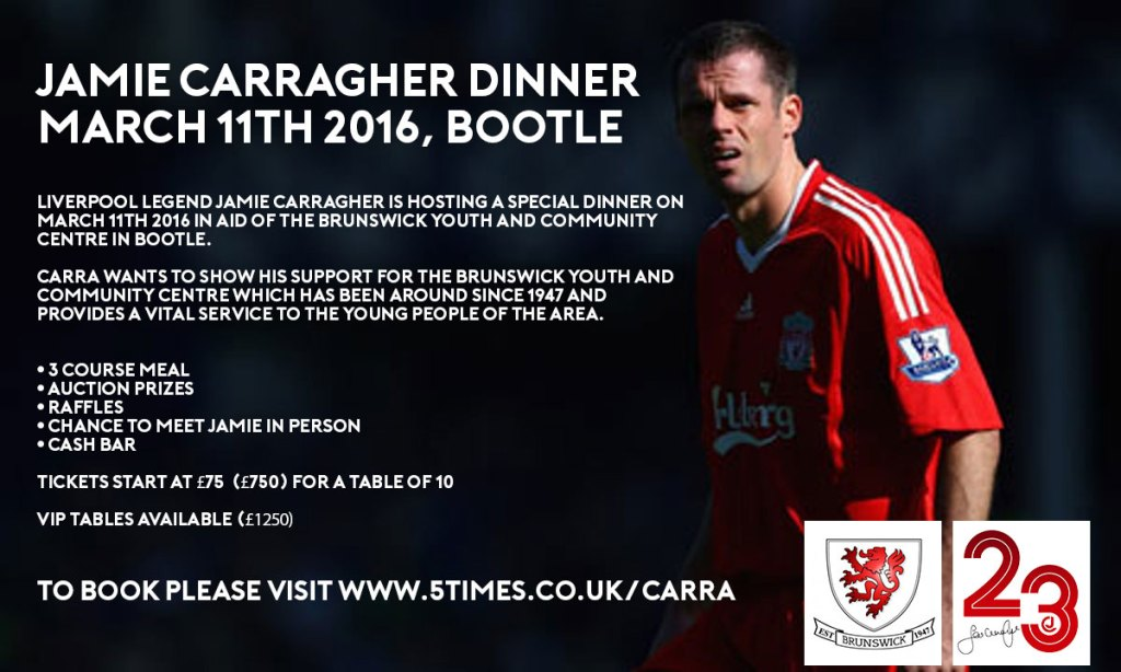 Jamie Carragher dinner at Brunswick Youth and Community Centre