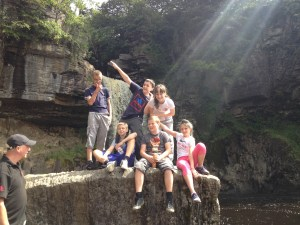 Children at Ingleton Waterfalls, North Yorkshire.