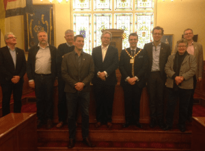 Photo of councillors from Sefton and Telemark meet thanks to the Brunswick Youth and Community Centre.