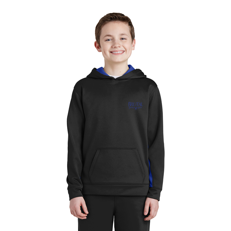 YST235 Brutal Logo Youth Colorblock Pullover Hoodie