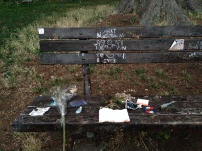 Kurt Cobain's bench outside of his house