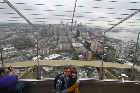 Both of us on top of the Space Needle