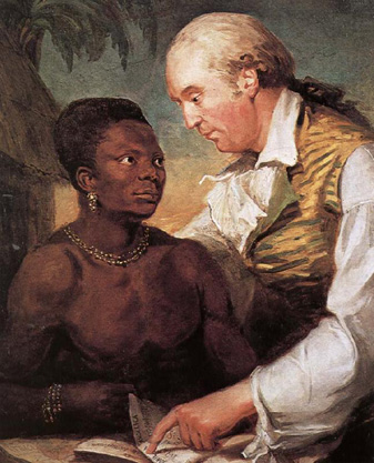 Carl Frederik von Breda's illustration (1792) showing Wadström teaching the freed slave Peter Panah the virtues of Swedenborg's tract The Wisdom of Angels