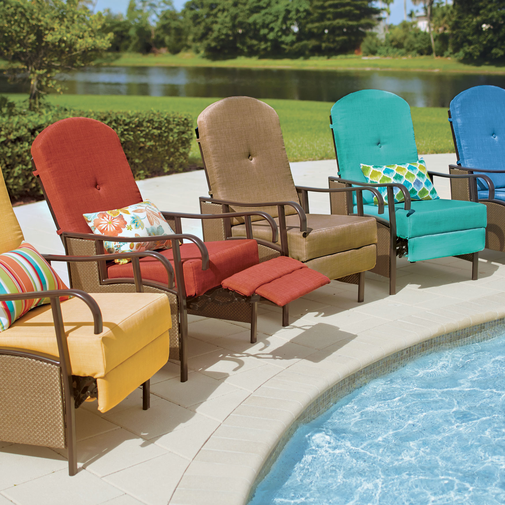 oversized outdoor recliner with cushion