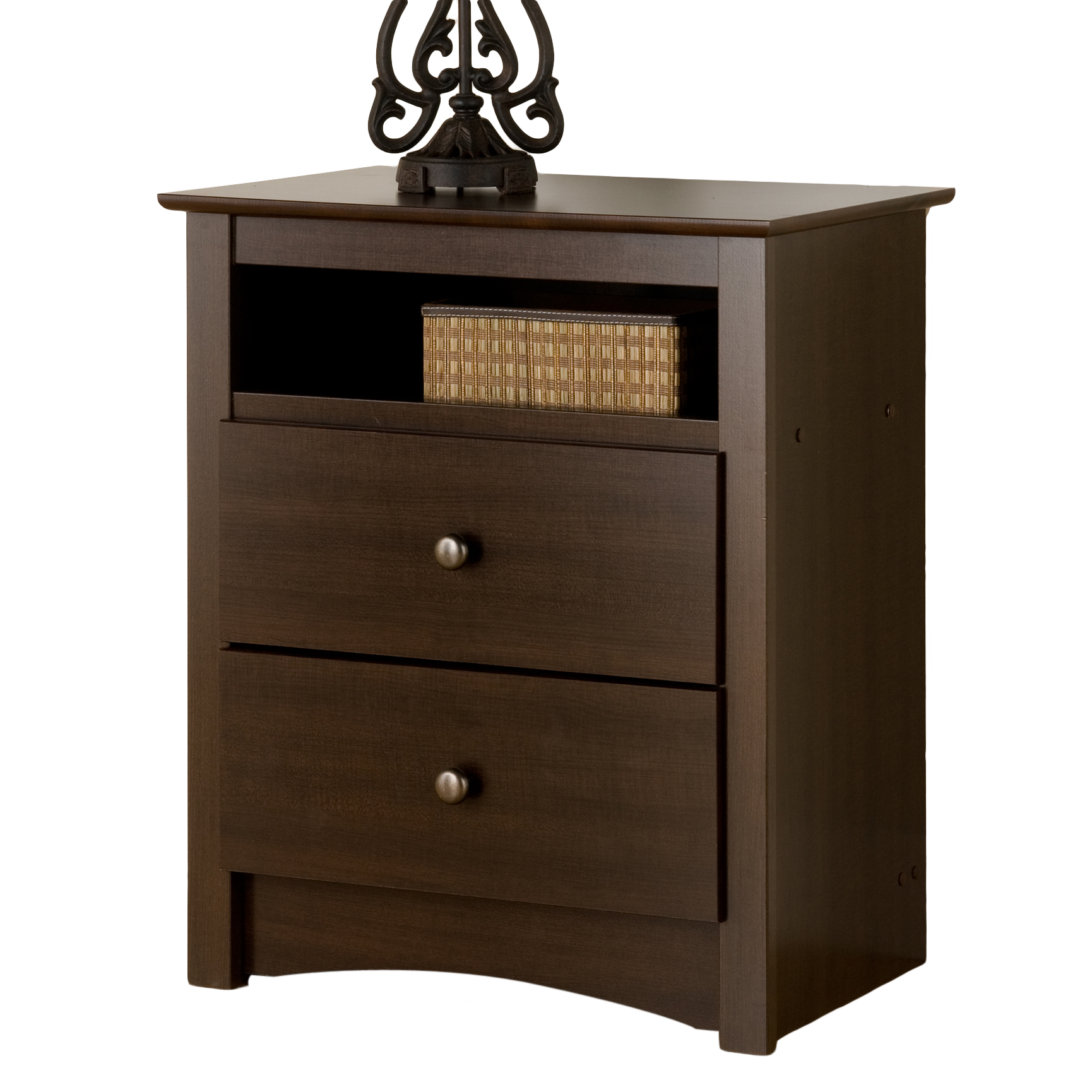 Fremont Espresso 2 Drawer Tall Night Stand With Open Shelf