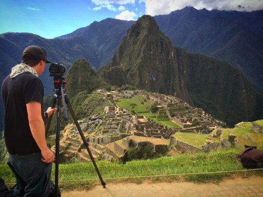 Getting timelpase shots at Machu Picchu, Peru for reality TV shoot.