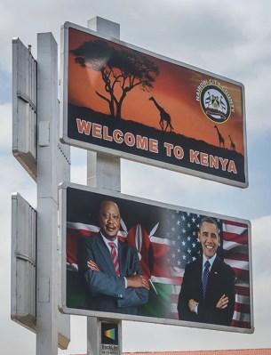 Signs welcoming President Obama to Kenya.
