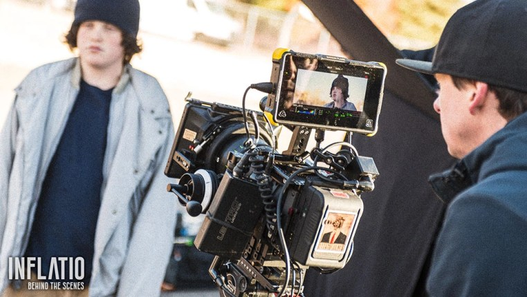 Bryon Evans rocking the role of film director on the Inflatio short film set.
