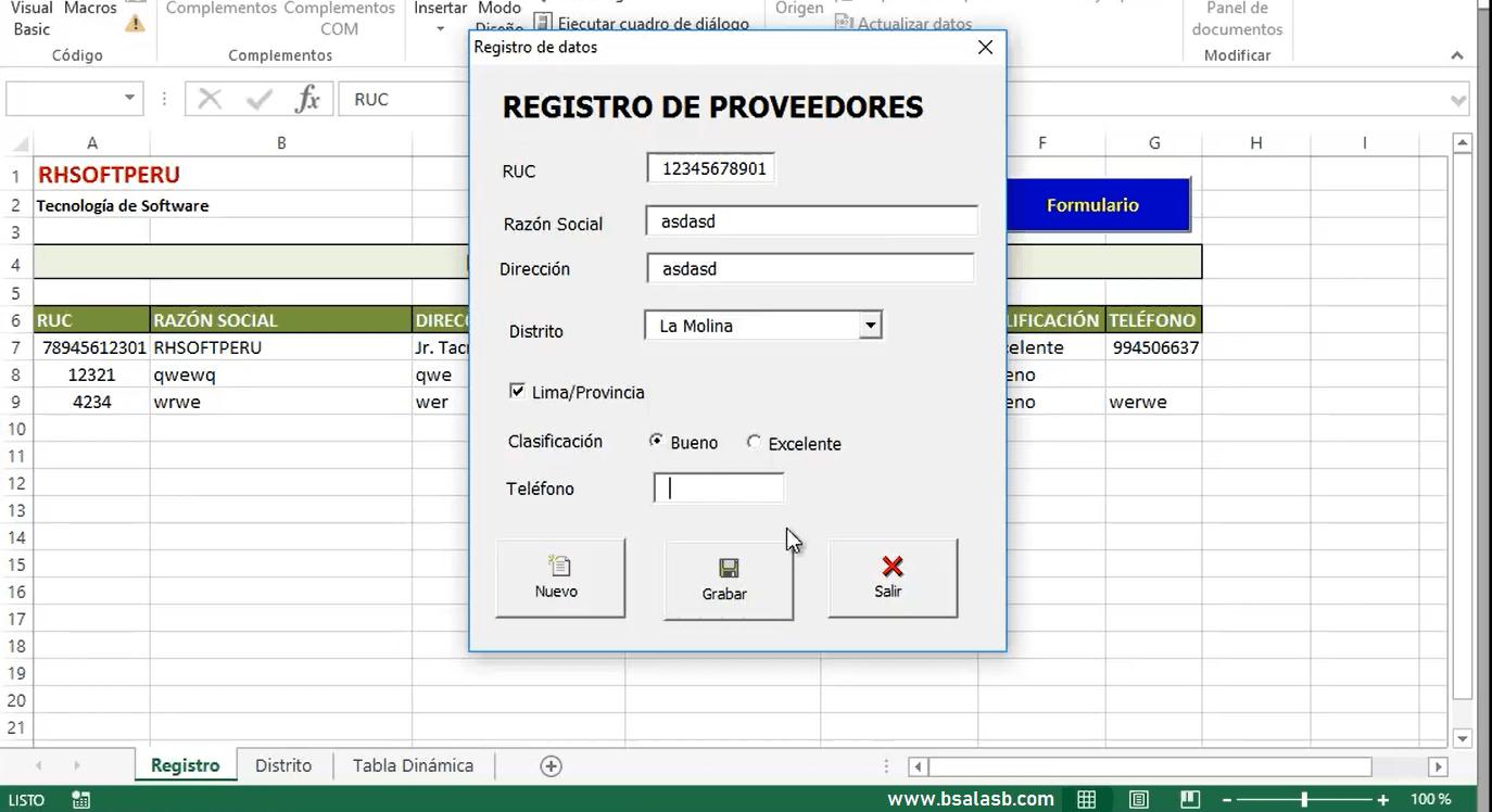 EXCEL: Registro de datos con programación VBA