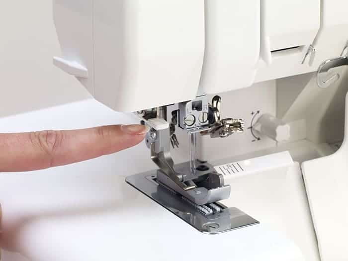 Needle threading is quick and easy.  A touch of a lever automatically threads the eye of each needle.