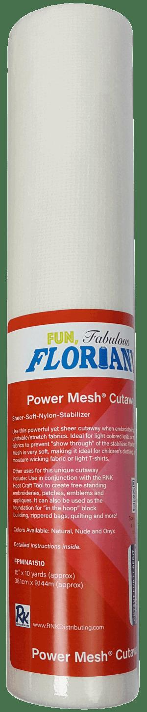 "Floriani Power Mesh Cutaway Natural 15""x10yds Stabilizer"