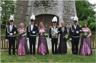 Foto vom Thron 2009 -  2012 v.l.n.r.: Heinrich und Marianne Engeln, Ulrich und Carmen Kempken, Holger und Tina Funck, Peter und Yvonne Gratenberg