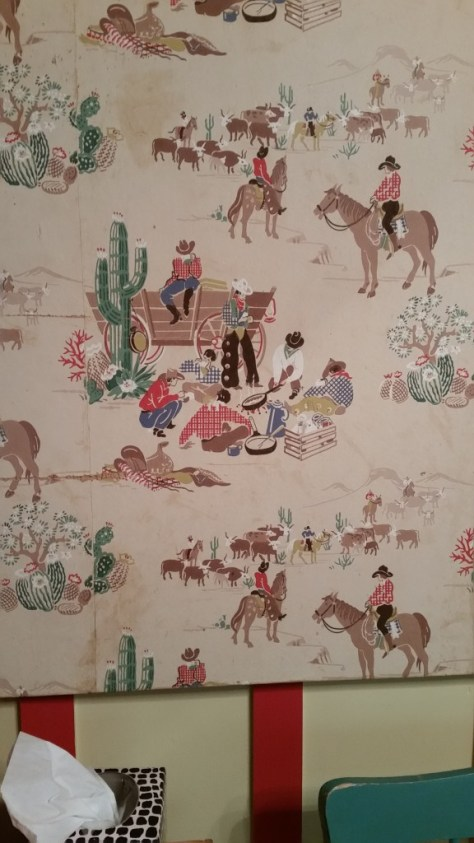 Vintage cowboy wallpaper in the other two bedrooms.