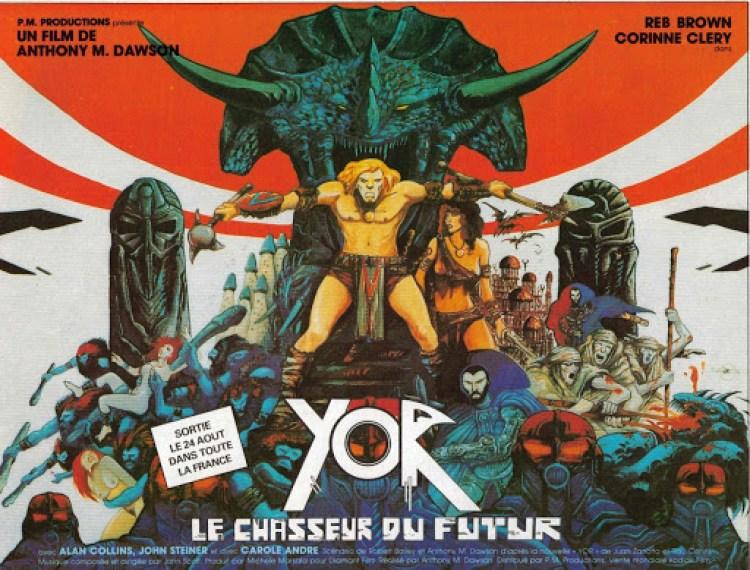 """La bella locandina disegnata da Philippe Druillet per """"Il mondo di Yor"""" (1983) - Antonio Margheriti."""