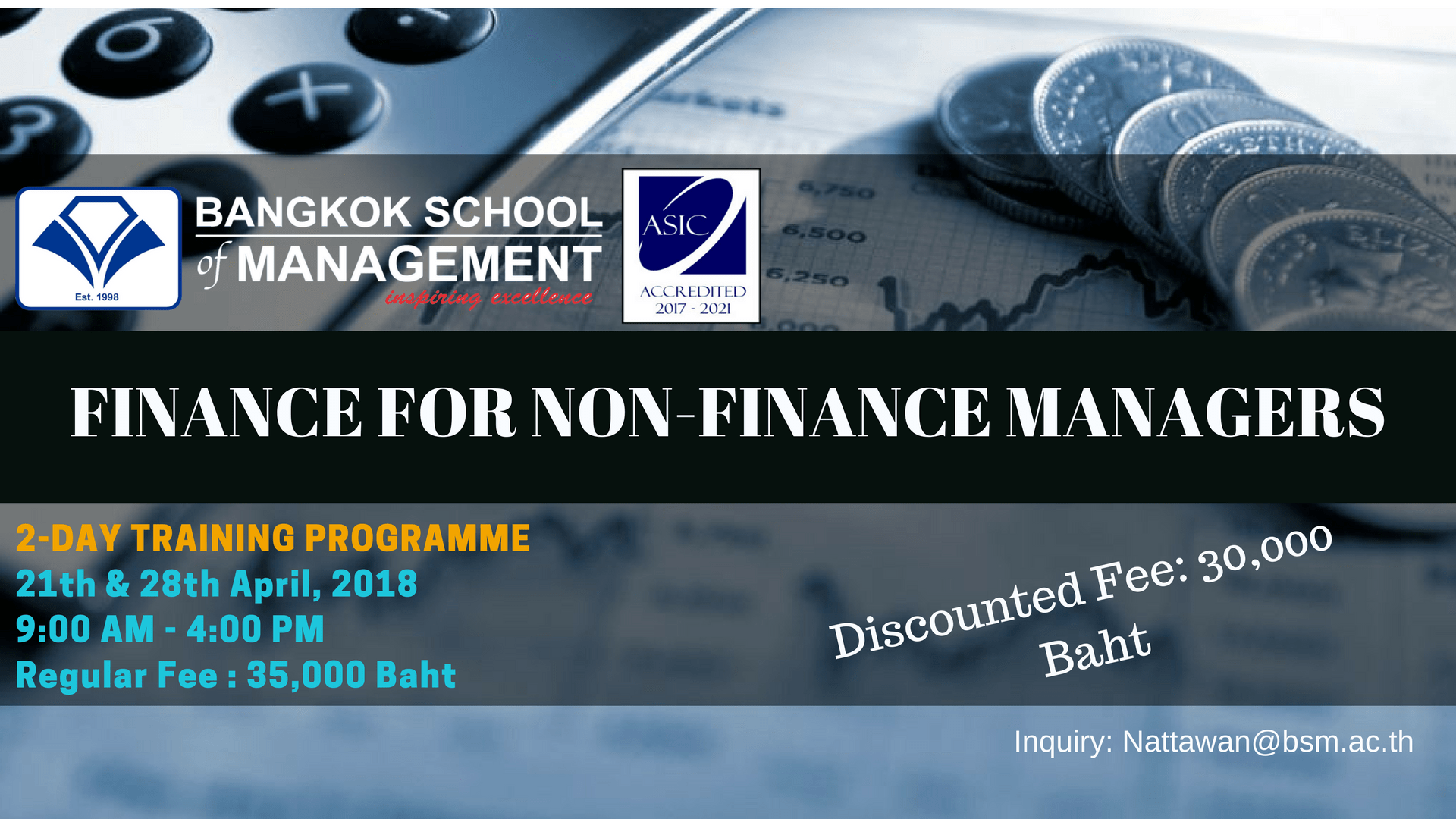 Date: April 21th and April 28th   Finance For Non-Finance Managers