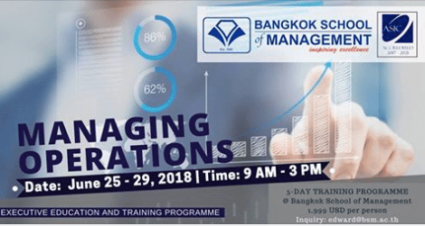 Date: June 25th-29 2018 <br></br> Managing Operations