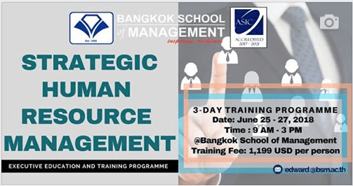Date: June 25th -27th 2018 <br></br>Strategic Human Resource Management