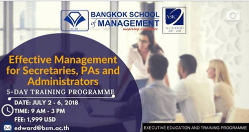 Date: July2nd-6th 2018<br></br>Effective Management for Secretaries,PAs and Administrators